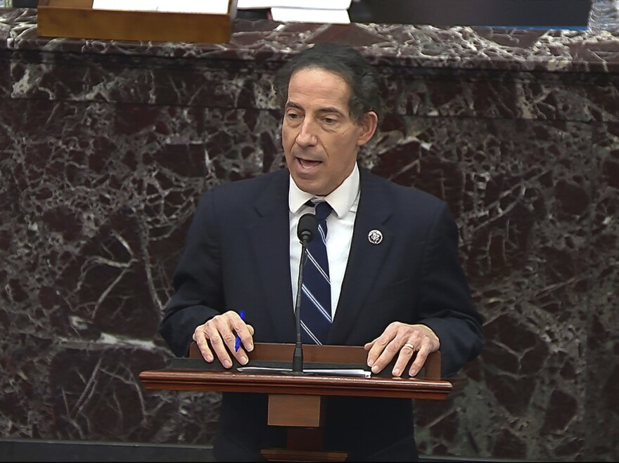 In this image from video, House impeachment manager Rep. Jamie Raskin (D-Md.) speaks during the second impeachment trial of former President Donald Trump and says he would like to subpoena Rep. Jaime Herrera Beutler.