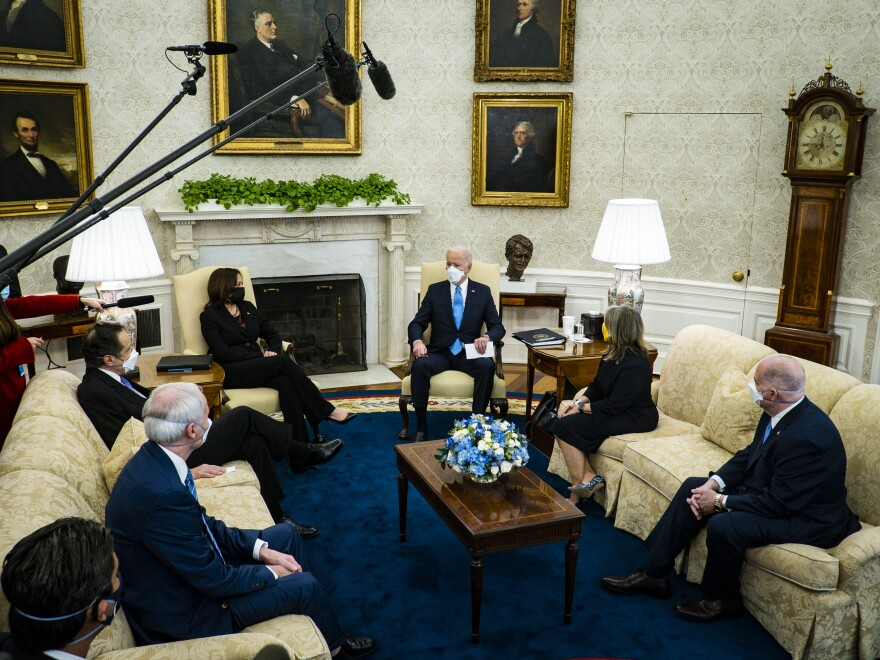 President Biden met with governors and mayors in the Oval Office to talk about his $1.9 trillion COVID-19 aid proposal.
