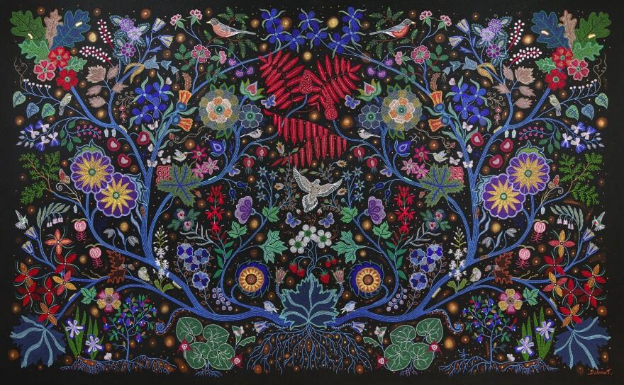 Christi Belcourt (Michif), <em>The Wisdom of the Universe,</em> 2014, acrylic on canvas
