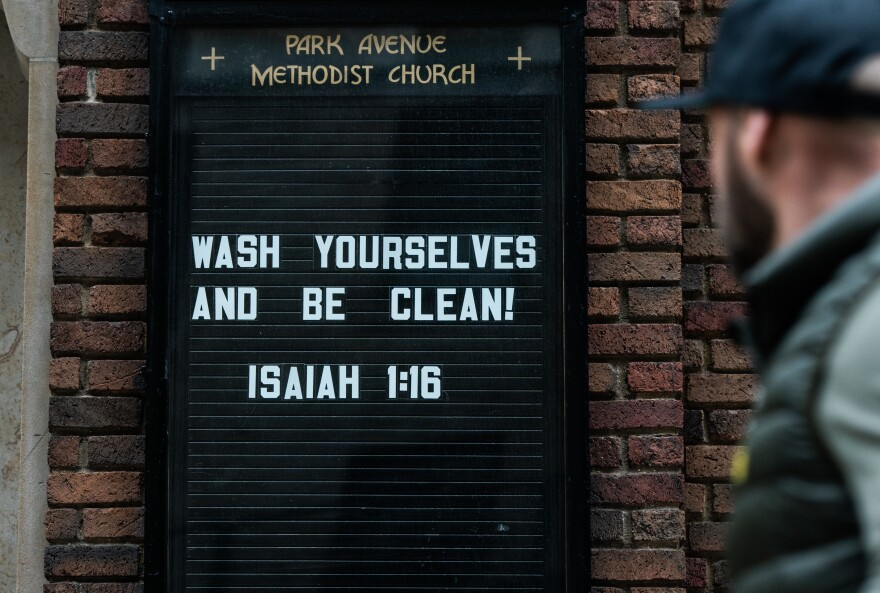 A phrase from the Bible's Book of Isaiah was on display on March 12 at a New York City church.