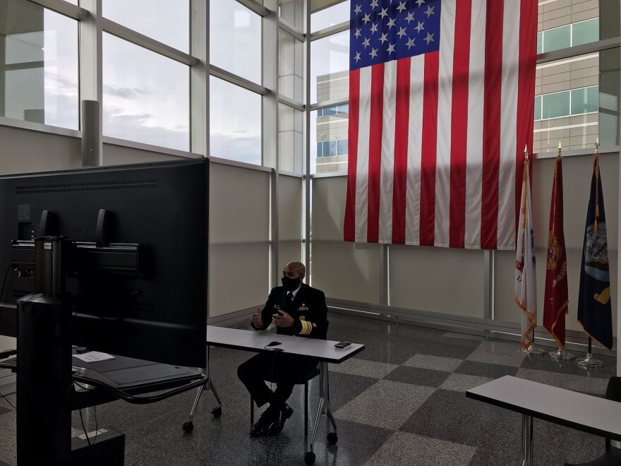 U.S. Surgeon General Dr. Jerome Adams tweeted out this photo of him speaking with reporters on a remote conference call Saturday, after a virtual meeting with Gov. Mike DeWine.