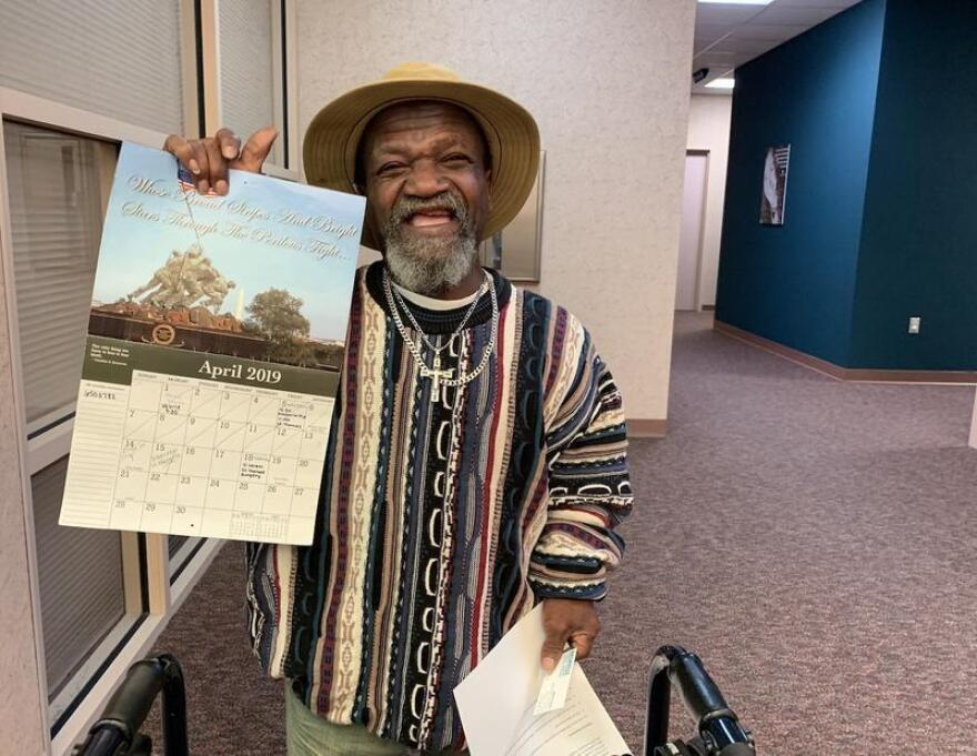 John Poynter of Clarksville, Tenn., uses a wall calendar to keep track of all his appointments for both behavioral health and physical ailments. His mental health case manager, Valerie Klein, appears regularly on the calendar — and helps make sure he gets to his diabetes appointments.
