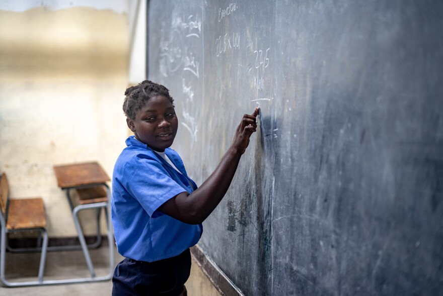 Antonia Manuel Tom, a seventh-grader at the Eduardo Mondlane school, says making it through a day of school is tough because she's not getting enough to eat.