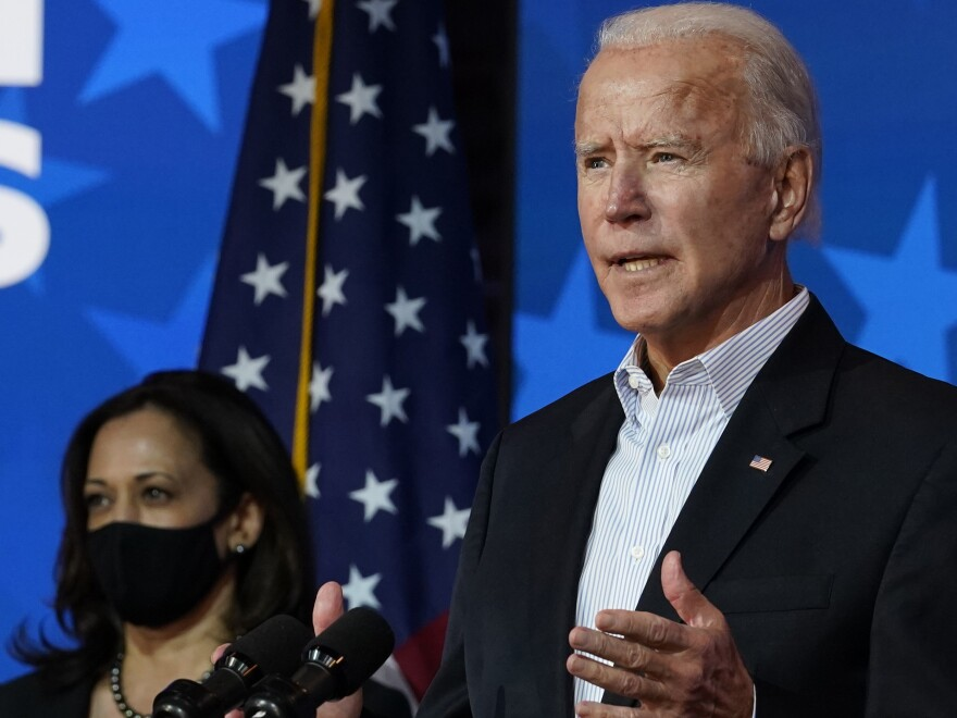 Joe Biden speaks Thursday in Wilmington, Del., with Sen. Kamala Harris at his side. World leaders reacted to Biden's victory, mostly congratulating the president-elect and vice president-elect.