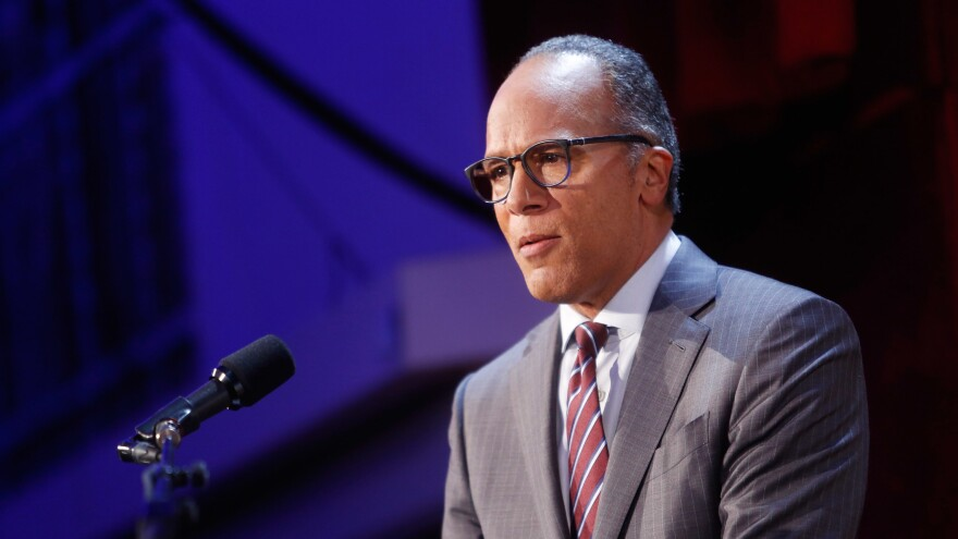 Lester Holt speaks on stage at an event at The Waldorf Astoria Hotel on Sept. 12 in New York City.