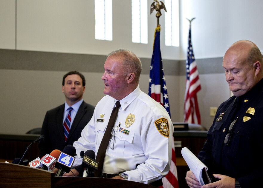 From left, St. Louis County Executive Steve Stenger, County Police Chief Jon Belmar and Ballwin Police Chief Kevin Scott