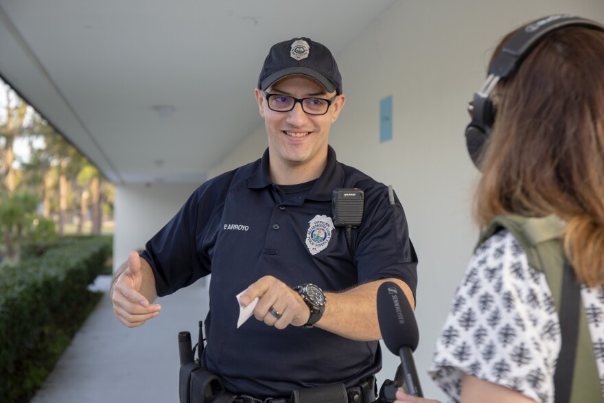 Officer is interviewed by reporter Kerry Sheridan