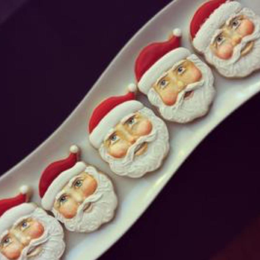 These Santa cookies are an example of Arty McGoo's cookie handiwork.