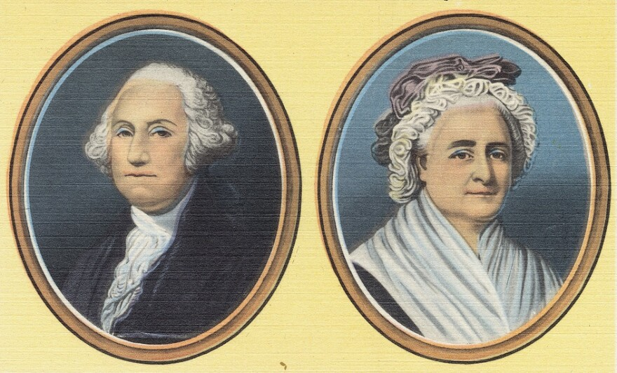 Portraits of George and Martha Washington as they appeared on a early 20th century postcard.