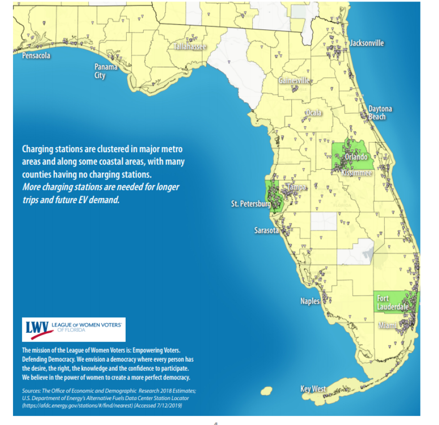 This map shows where public electric vehicle chargers are concentrated. LEAGUE OF WOMEN VOTERS OF FLORIDA