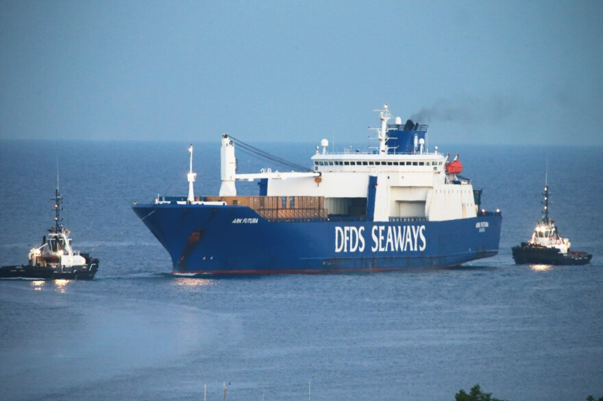 The Danish ship Ark Futura arrives in the southern Italian port of Gioia Tauro on July 2, carrying chemical weapons material from Syria. The material was transferred to the U.S. military ship Cape Ray and was destroyed in the eastern Mediterranean. The U.S. said this week that all of Syria's declared chemical arsenal has been destroyed.