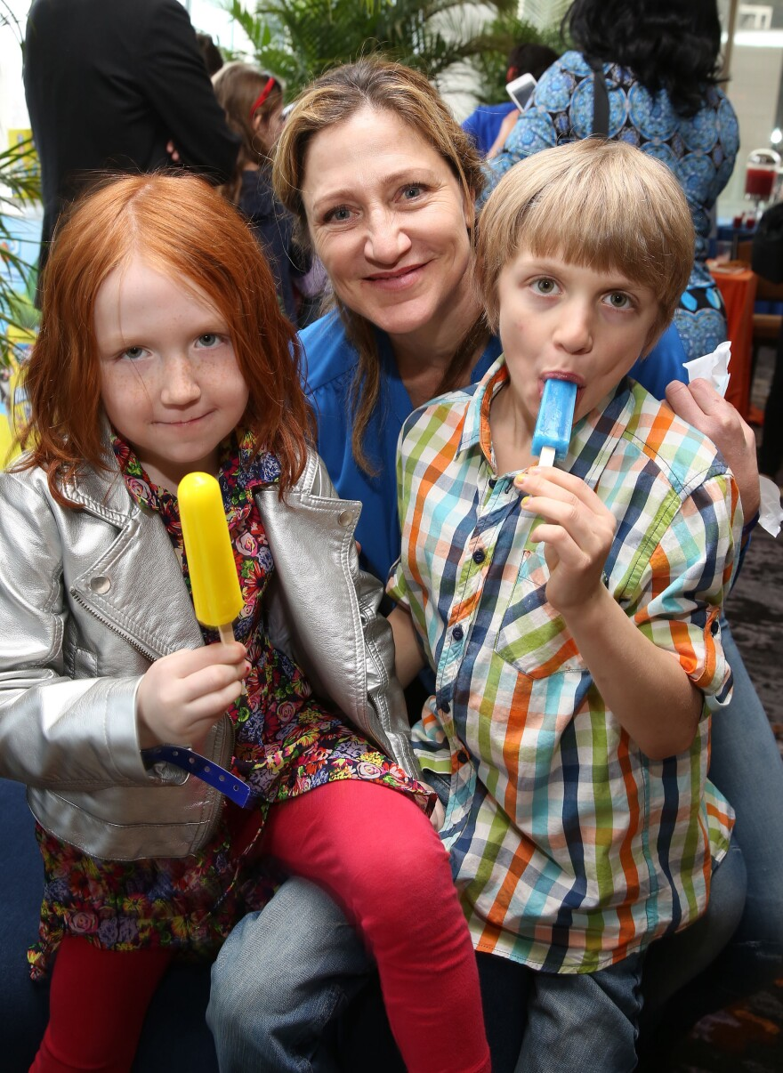 Falco and her children, Macy and Anderson, enjoy a frozen treat at the <em>Rio 2</em> screening after-party in New York in March.