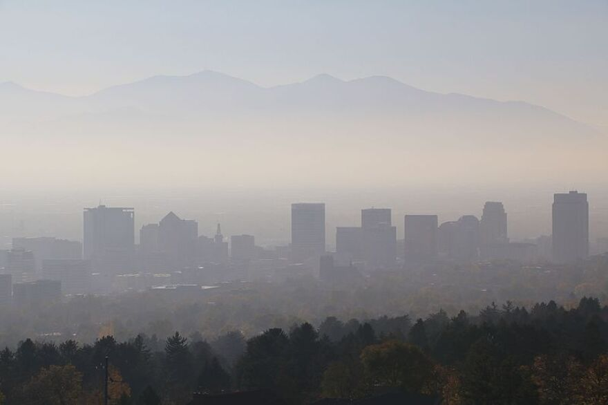 Photo of smog over Salt Lake City.