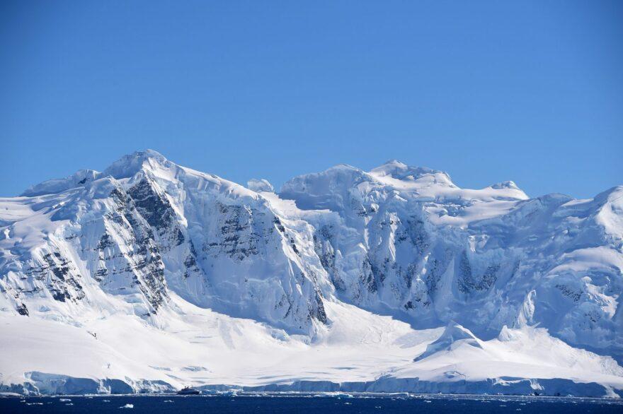 View of a glacier at Chiriguano Bay in South Shetland Islands, Antarctica.
