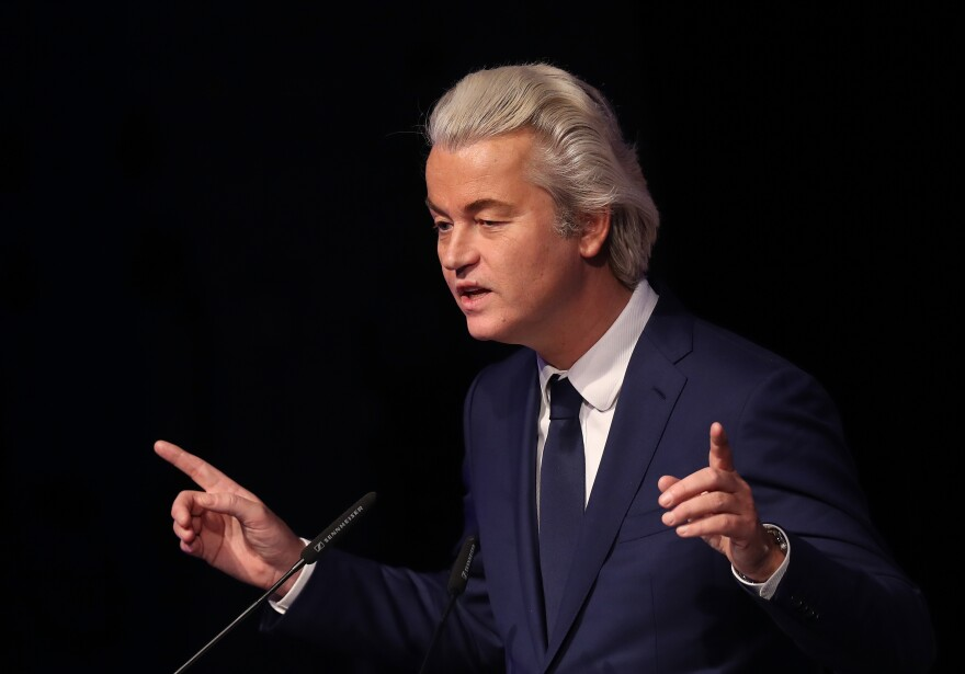 Dutch far-right leader Geert Wilders speaks at a conference of European right-wing parties on Jan. 21 in Koblenz, Germany. France, the Netherlands and Germany all face national elections this year and in each case, right-wing populists are in a strong position.
