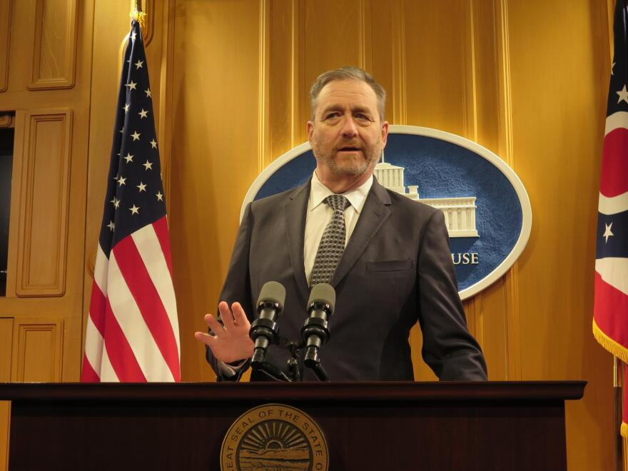 Attorney General Dave Yost speaks at a press conference in 2018.