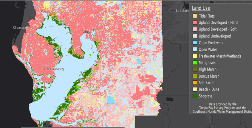 Map of potential sea level rise in Tampa Bay
