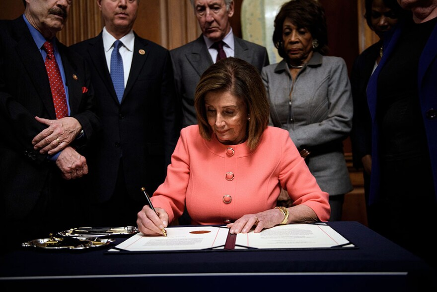 The U.S. House of Representatives voted Wednesday to transmit articles of impeachment against President Donald Trump to the Senate, opening the way for the historic trial of the 45th president for abuse of power. (Brendan Smialowski/AFP via Getty Images)