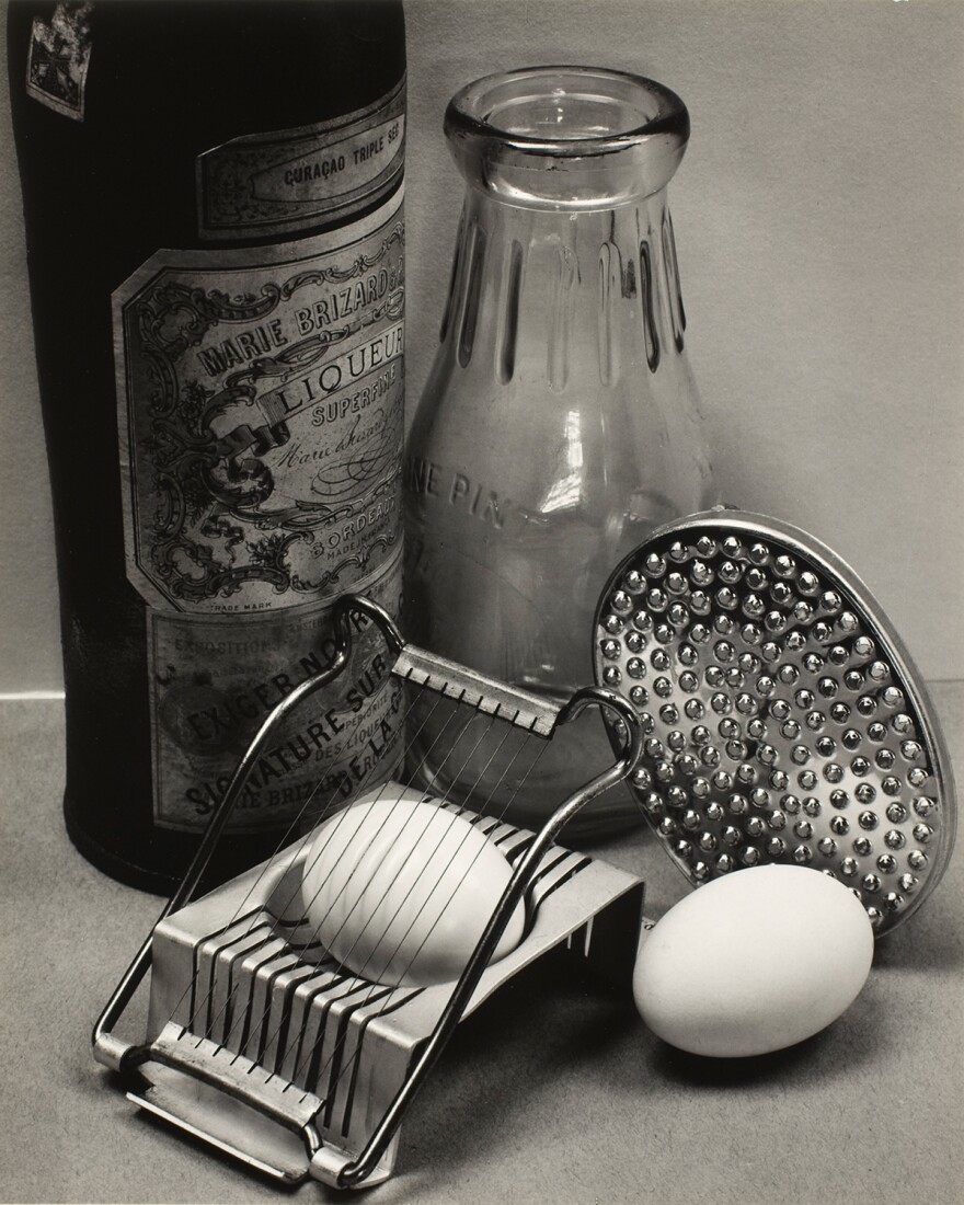 "Ansel Adams, <em>Still Life</em>, San Francisco, 1932, with the recipe: <a href=""#eggs"">Ansel Adams's Poached Eggs in Beer</a>."