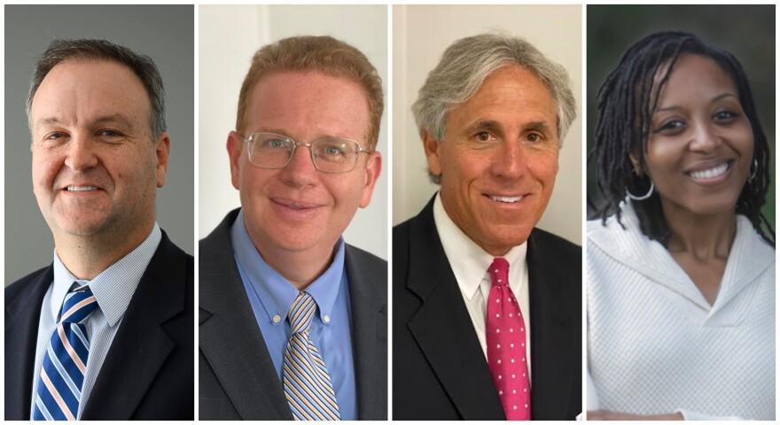 Democratic St. Louis County Executive candidates Sam Page, Jake Zimmeran, Mark Mantovani and Jamie Tolliver