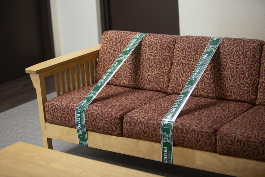 Seats are roped off to promote social distancing