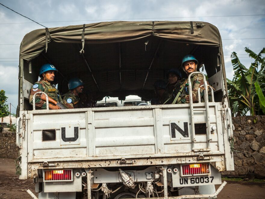 Blue Helmet peacekeepers are seen in the Democratic Republic of the Congo in 2016. According to a U.N. report, 56 U.N. peacekeepers died in 2017, the highest number of deaths since 1994.