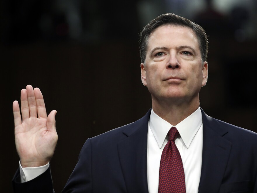 Former FBI director James Comey is sworn in during a Senate Intelligence Committee hearing on Capitol Hill, in June 2017.