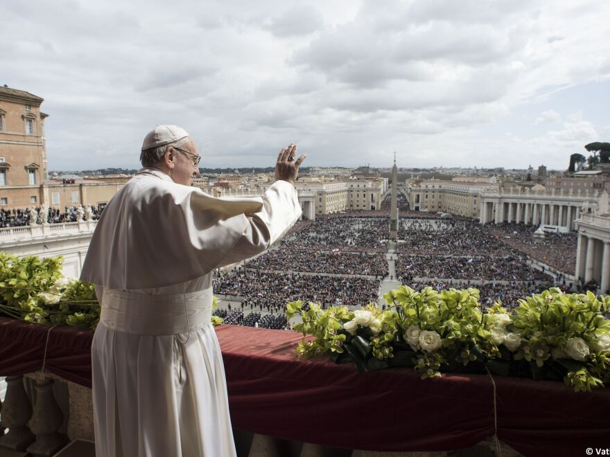 Pope Francis delivers delivers an Easter Sunday Urbi et Orbi, an address to the city and to the world, in St. Peter's Square at the Vatican.