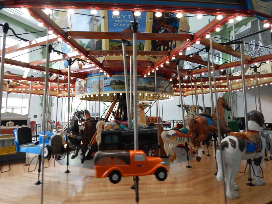 A carousel at Dayton History and Carillon Historical Park shows off inventions spawned in Dayton