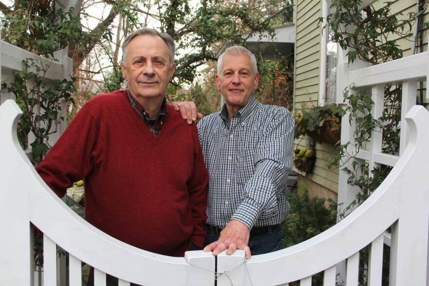 Sergio Cervetti (left) and Ken Rinker have been together for 50 years. They were legally father and son for 15 years before annulling the adoption to get married in July.