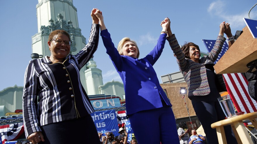 Presumptive Democratic nominee Hillary Clinton (center) at a rally with Rep. Karen Bass, D-Calif. (left), and Rep. Maxine Waters, D-Calif., on Monday.