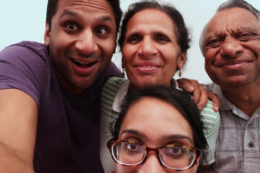 A Patel family selfie, with actor Ravi (clockwise from left), parents Champa and Visant, and sister Geeta.