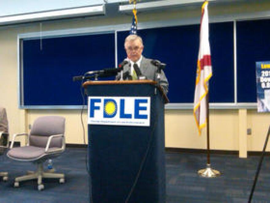 Former FDLE Secretary Gerald Bailey during a press conference.