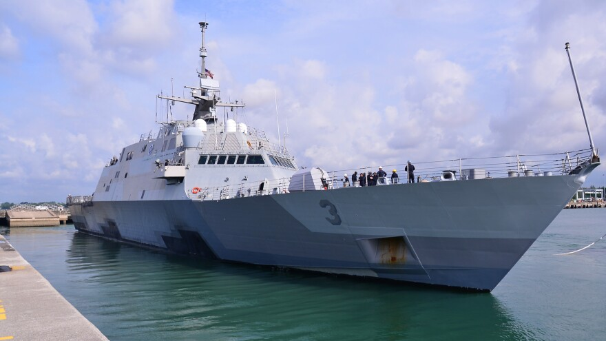 The littoral combat ship USS Fort Worth departs Changi Naval Base, Singapore, on Aug. 22, after sitting idle for months.