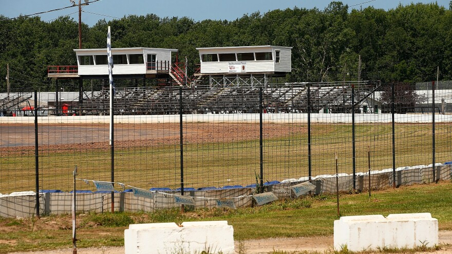 The grandstands sit empty at the Canandaigua Motorsports Park Sunday, one day after NASCAR driver Tony Stewart hit and killed sprint car driver Kevin Ward Jr. during a dirt track race.