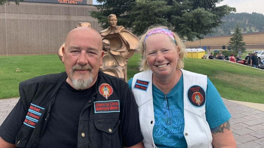 """Shawn """"Hatchet"""" and Jenny """"Blondie"""" McKinney are members of Bikers for Christ in Indiana. Shawn, who is attending his third rally, wanted his wife to experience Sturgis for her first time. Neither has been vaccinated."""