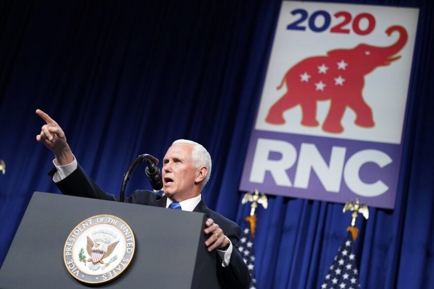 Vice President Mike Pence speaks at the 2020 Republican National Convention in Charlotte, N.C., Monday, Aug. 24, 2020. (Andrew Harnik/AP Photo)