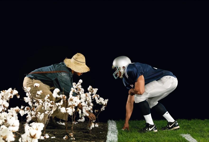 Hank Willis Thomas (American, born 1976), The Cotton Bowl, from the series Strange Fruit, 2011. Chromogenic print. Image courtesy of the artist and Jack Shainman Gallery, New York. Copyright Hank Willis Thomas