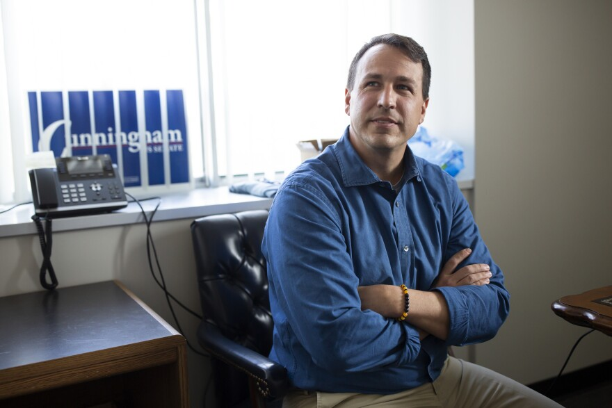 Cal Cunningham, one of five Democratic candidates running for the U.S. Senate seat in North Carolina, sits in his office in Raleigh on January 28, 2020. If Cunningham wins the primary, he will face current Rep. Senator Thom Tillis in November.