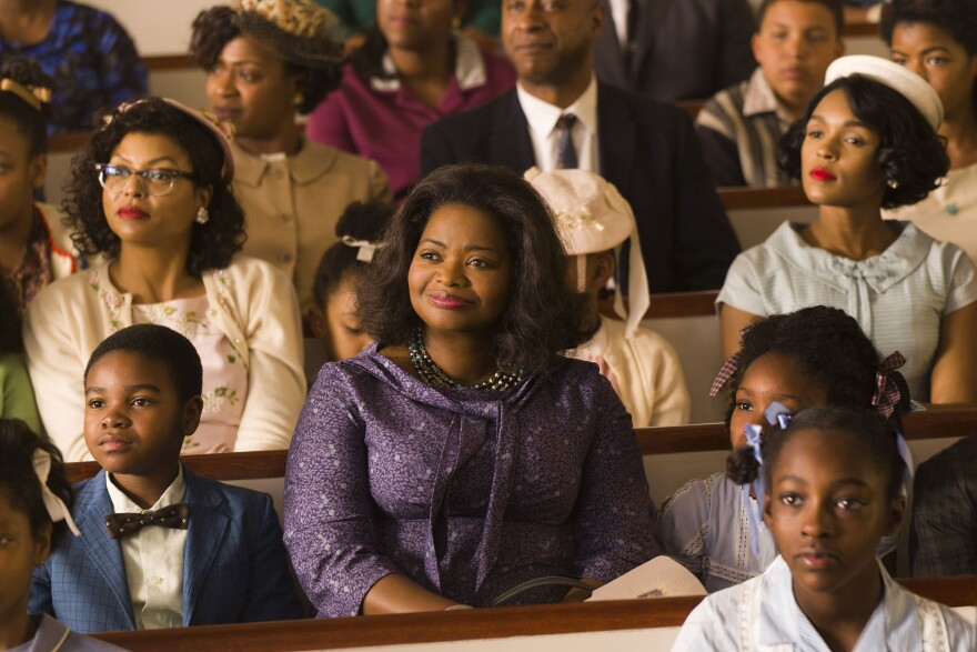 """""""They were moms and they were dreamers and they had fierce natures,"""" says actress Octavia Spencer (center). She plays NASA supervisor Dorothy Vaughan alongside Taraji P. Henson (left) as mathematician Katherine Johnson and Janelle Monáe (right) as engineer Mary Jackson."""