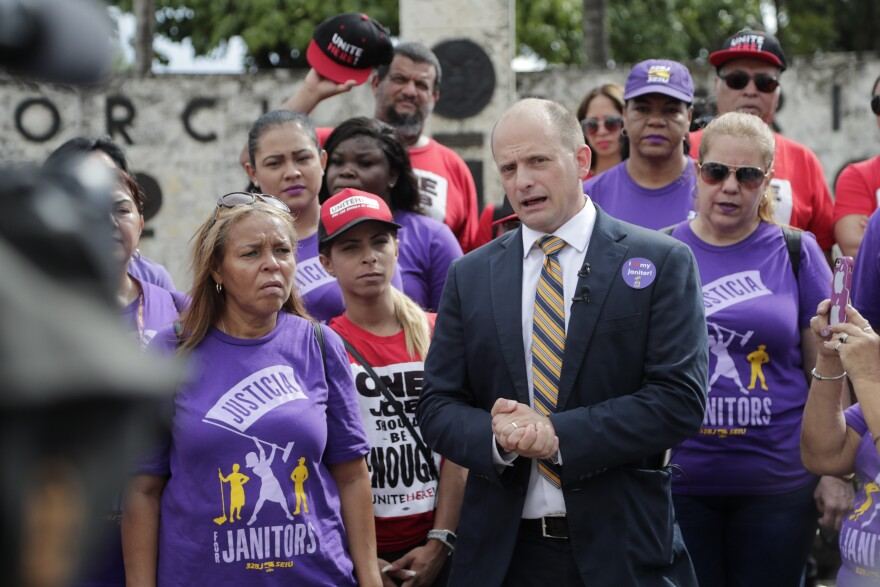State Senator Jose Javier Rodriguez, (D-Miami), speaks during a rally calling for an increase in the minimum wage, Wednesday, Oct. 2, 2019, in Miami. A 10-cent increase to the state minimum wage to keep up with inflation is due to be announced in October.