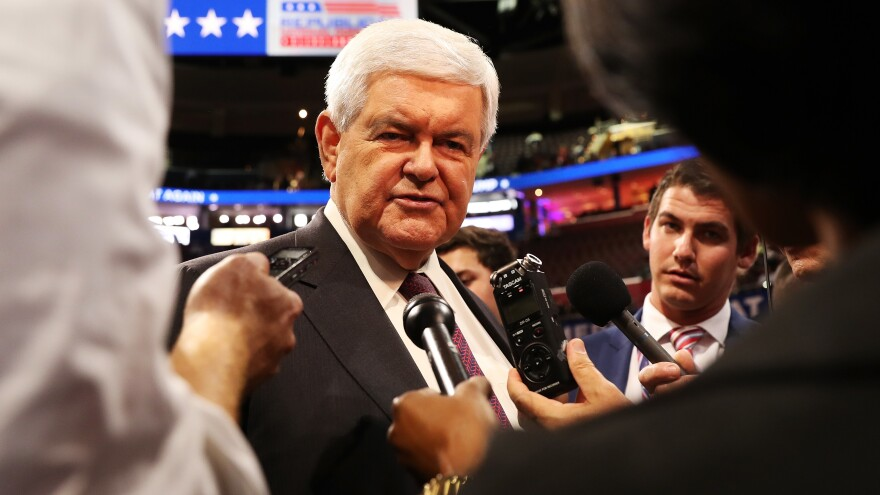 Former Speaker of the House Newt Gingrich speaks with reporters at the 2016 Republican National Convention in Cleveland.