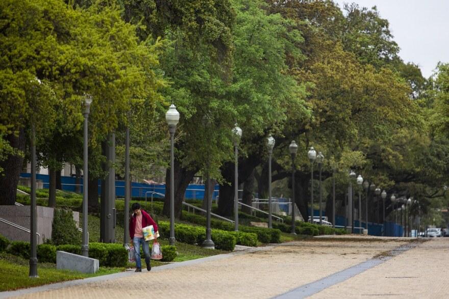 An empty UT Austin campus on March 16.