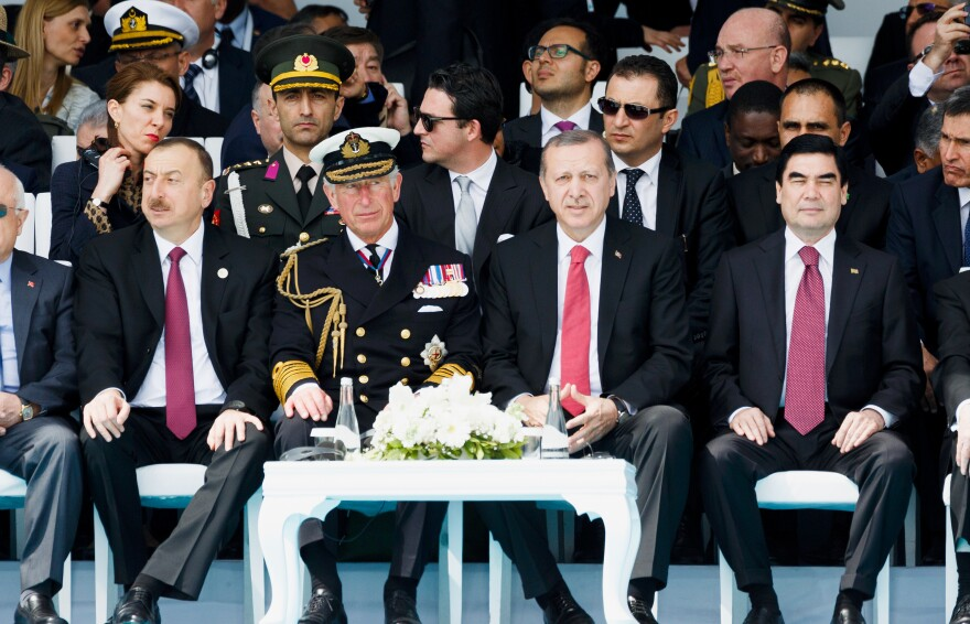 Britain's Prince Charles and Turkey's President Recep Tayyip Erdogan (front and center) attend a service marking the 100th anniversary of the battle of Gallipoli, one of the most monumental clashes of World War I. The event was held at the Canakkale Turkish Martyrs' Memorial Abide in Seddulbahir, Turkey.