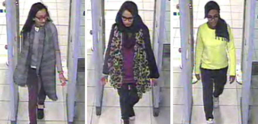 CCTV images issued by the Metropolitan Police in London in 2015, show Shamima Begum (center) and her friends walking through security at Gatwick Airport, on their way to Syria.