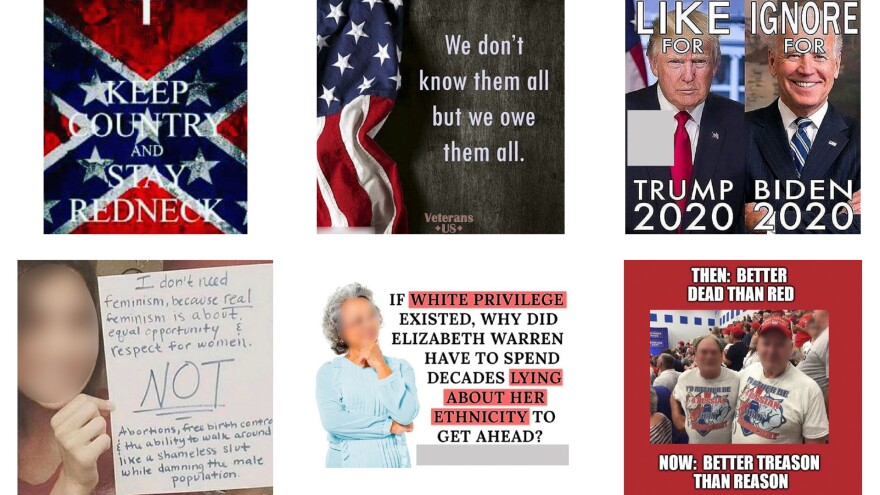 A selection of images from Instagram posts included in professor Young Mie Kim's analysis of election disinformation.