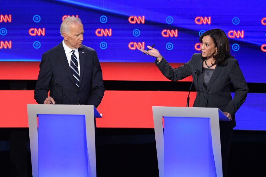 Democratic presidential hopeful former Vice President Joe Biden listens as Sen. Kamala Harris speaks during the second round of the second Democratic primary debate of the 2020 presidential campaign season.