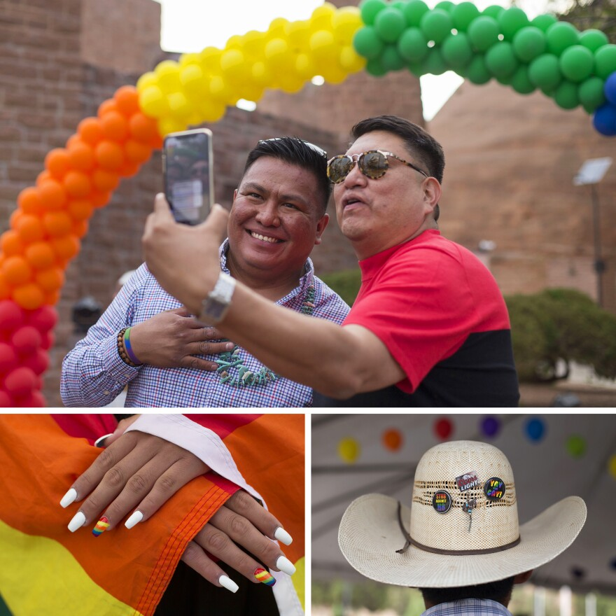 Top: Alarm Nelson (left) joins Arlando Teller in a livestream from Diné Pride. Nelson is the founder of Diné Equality and co-founder of Diné Pride, while Teller is the Arizona state representative for District 7. Left: Geronimo Louie shows off their rainbow manicure. Right: Carnelise Henry wears a cowboy hat with pro-LGBT buttons.