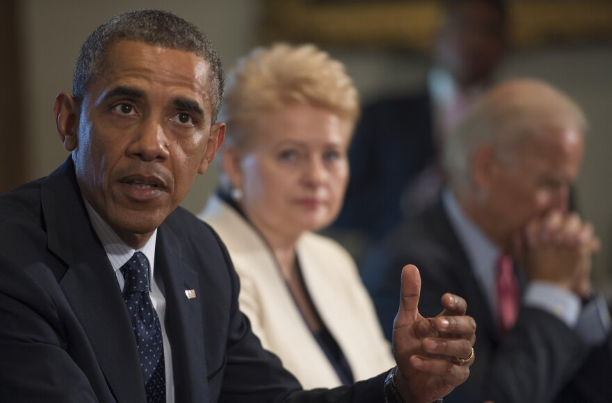 President Obama delivers a statement on Syria during a meeting with Lithuania's President Dalia Grybauskaite at the White House in Washington on Friday.