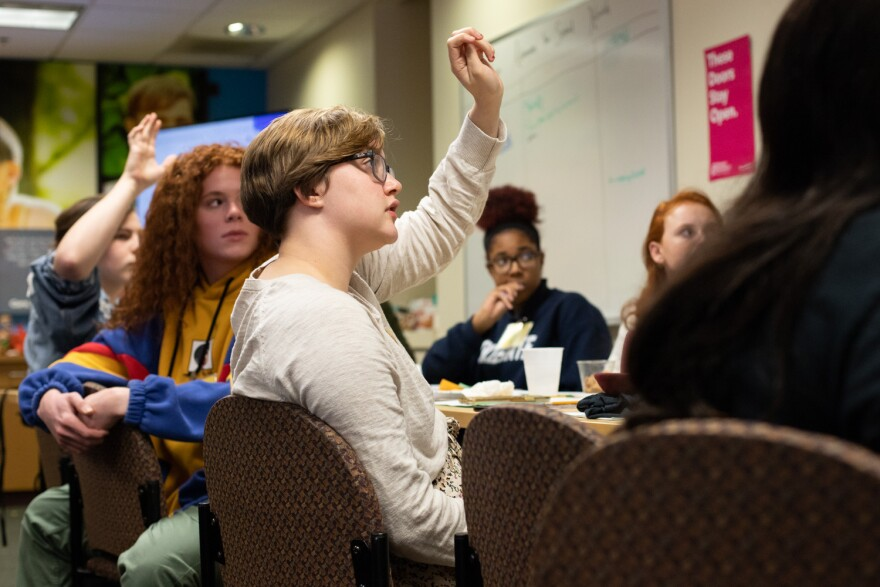 Students in the Teen Advocates for Sexual Health group participate in discussion about gender identity, sexual violence and other aspects of sexuality during a meeting on Nov. 6, 2019.